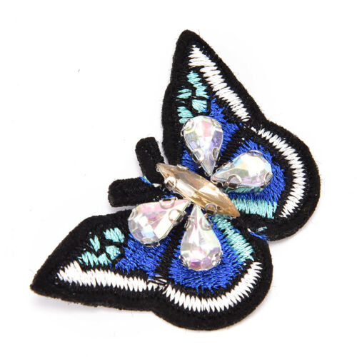 Butterfly sequins rhinestones bead brooch patches sew on beading applique DIY UF