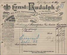 HOF i. Bay., Rechnung 1908, Kgl. Bayer. Hofphotograph u. Kunstmaler E. Rudolph