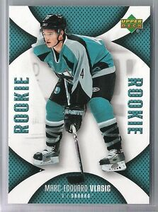 best service 96ad8 03bbe Details about 06-07 2006-07 UD MINI JERSEY MARC-EDOUARD VLASIC ROOKIE RC  113 SAN JOSE SHARKS