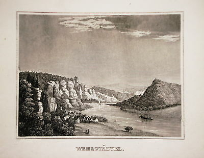 MüHsam Wehlen Elbe Sachsen Seltener Echter Alter Stahlstich 1842 Modischer (In) Stil;