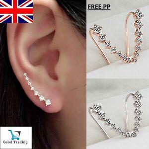 Image Is Loading Beautiful Gold Crystal Along Ear Lobe Earrings Sideways