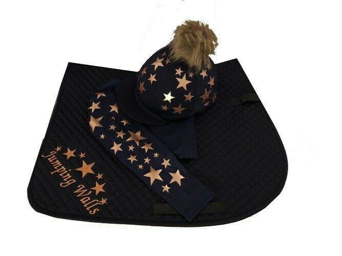 Navy pink gold Cross Country Horse Riding Set, Faux Fur PomPom
