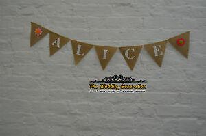 nursery decor custom personalized name banner felt flowers burlap