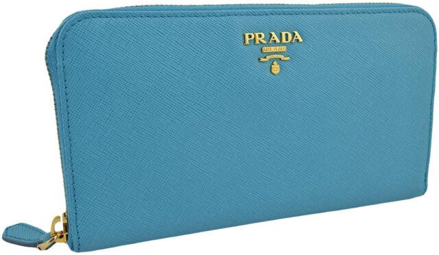 0efc3e31fae1 $690 PRADA Voyage Blue SAFFIANO METAL Leather Women Zipper Wallet NEW  COLLECTION