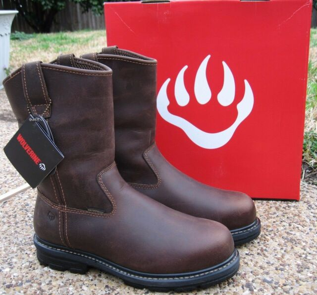592a141739d NEW Mens Wolverine NOLAN Brown Leather Safety Toe Waterproof Work Boots  W10108