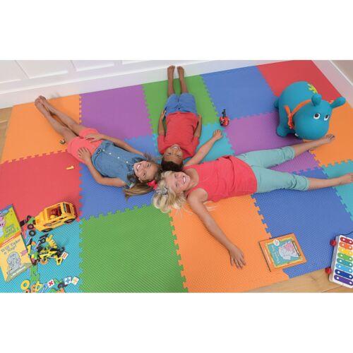 "Norsk 25/"" x 25/"" Commercial Grade Reversible Floor Mats Assorted Colors 8 Tiles"
