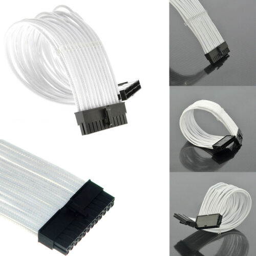 2 Cable Combs EA7X 24 pin ATX Motherboard 30cm White Sleeved Extension
