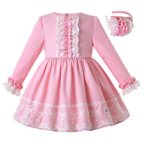 Kids Girls Bridesmaid Dress Flower Party Wedding Christmas Gown Princess 2-12Y