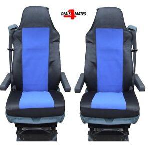 2X-BLUE-FABRIC-TAILORED-SEAT-COVERS-FOR-DAF-TRUCKS-XF95-XF105-XF-105-95-LF-CF
