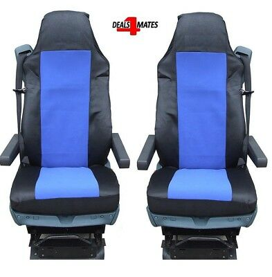 2x Seat Covers for VOLVO FH12 FH16 FL FM Tailored HGV Truck Lorry Black//Black