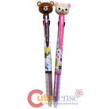San X Rilakkuma Pen Figure Top 3 color Retractable Ballpoint Pens 2PC Set
