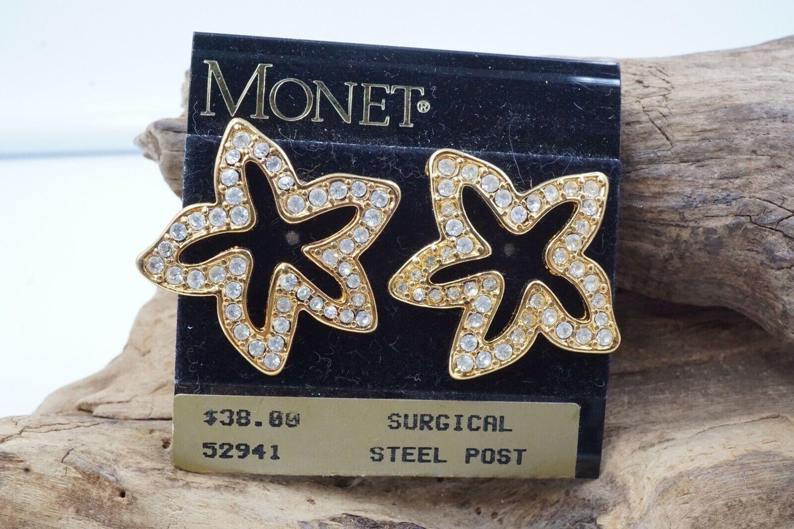 NOS Vintage MONET Gold Tone  STAR RHINESTONE Stud… - image 1