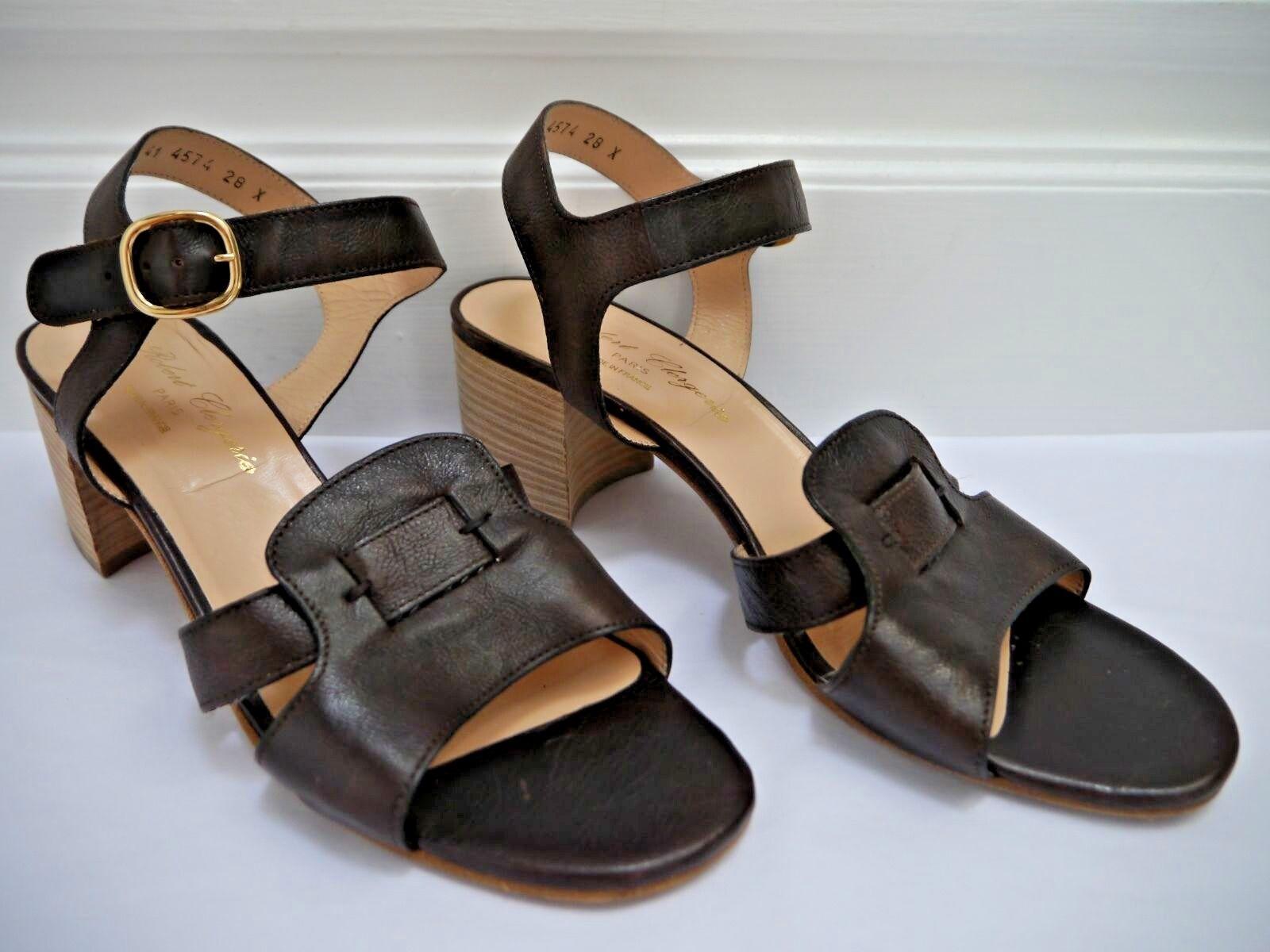 ROBERT CLERGERIE dark brown leather heeled sandals size 10