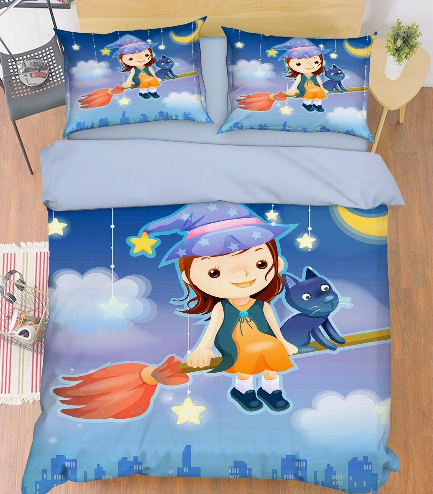 3D Broom Witch 786 Bed Pillowcases Quilt Duvet Cover Set Single Queen UK Carly