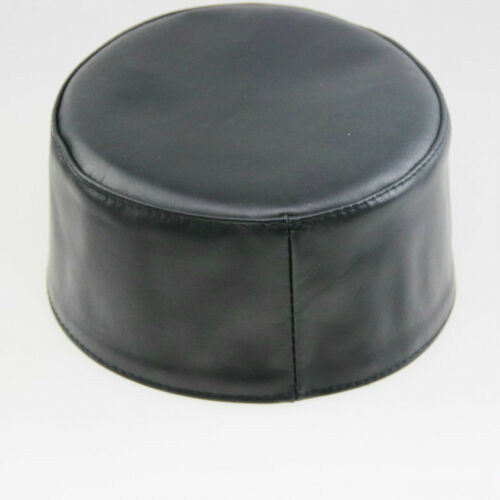 Sheepskin Leather Prayer Hat Takke Namaz Islamic Muslim Turkish Skull Cap Black