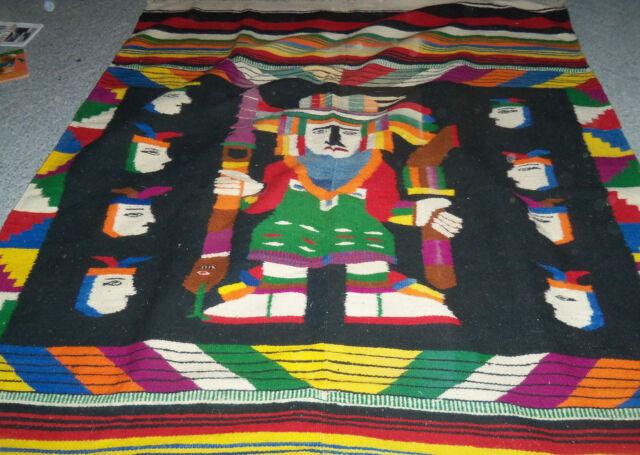 "blanket rug tapestry Aztec folk art handwoven Southwestern 57"" x 73"" vintage"