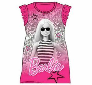 Barbie Childrens Kids Girls Pink PJs Nightdress Nightie Age 2-8 Years