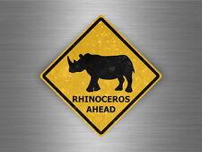 Autocollant sticker laptop macbook panneau route safari attention rhinoceros