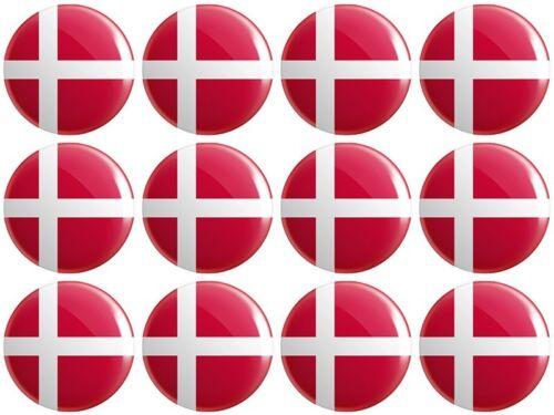 12 x Denmark Flag BUTTON PIN BADGES 25mm 1 INCH  Danish