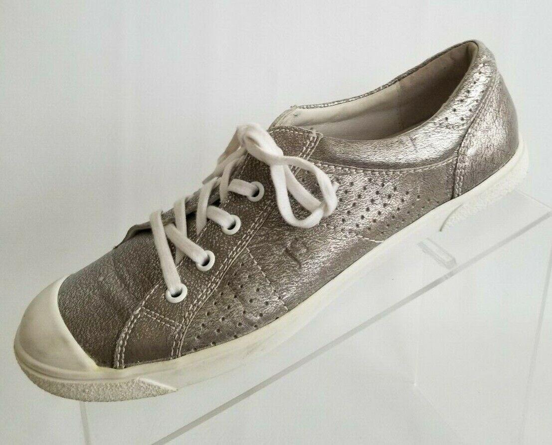 Josef Seibel Sneakers Womens Pewter Metallic Lace Up shoes Size EU 38 US 7.5
