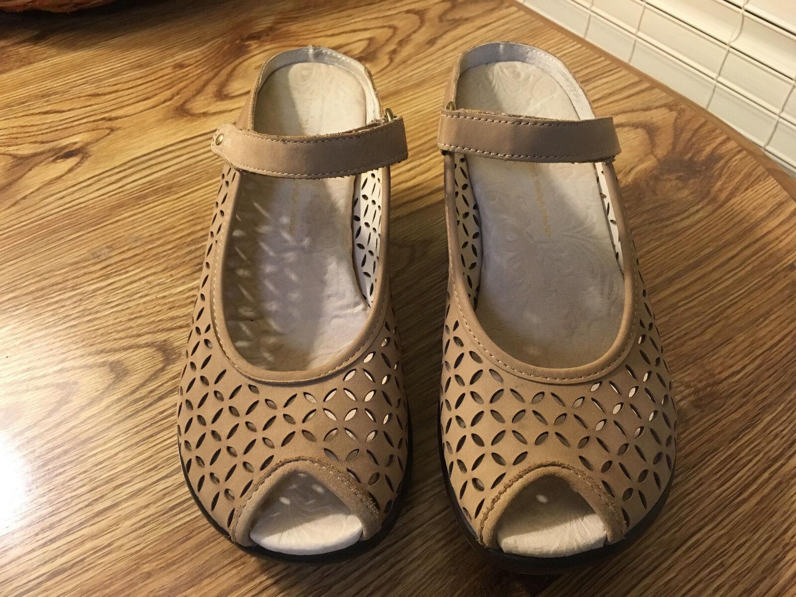 Jambu Journey Journey Journey Encore 8.5M Oatmeal Leather Open Toe Wedge Sandals Women's 6ffeb4