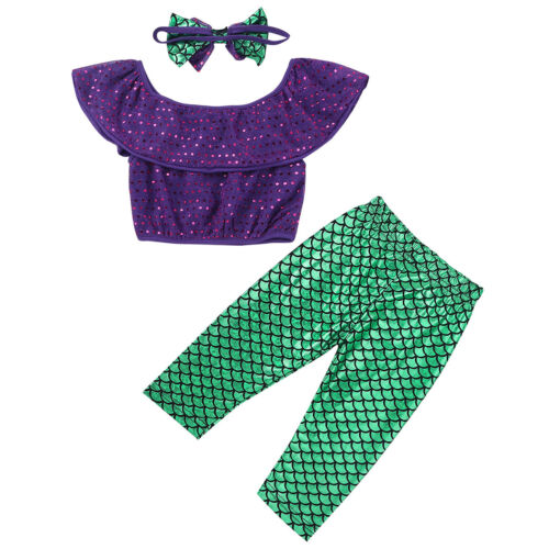 Baby Girls Infant Mermaid Off-shoulder T-shirt Tops Long Pants Outfits Clothes