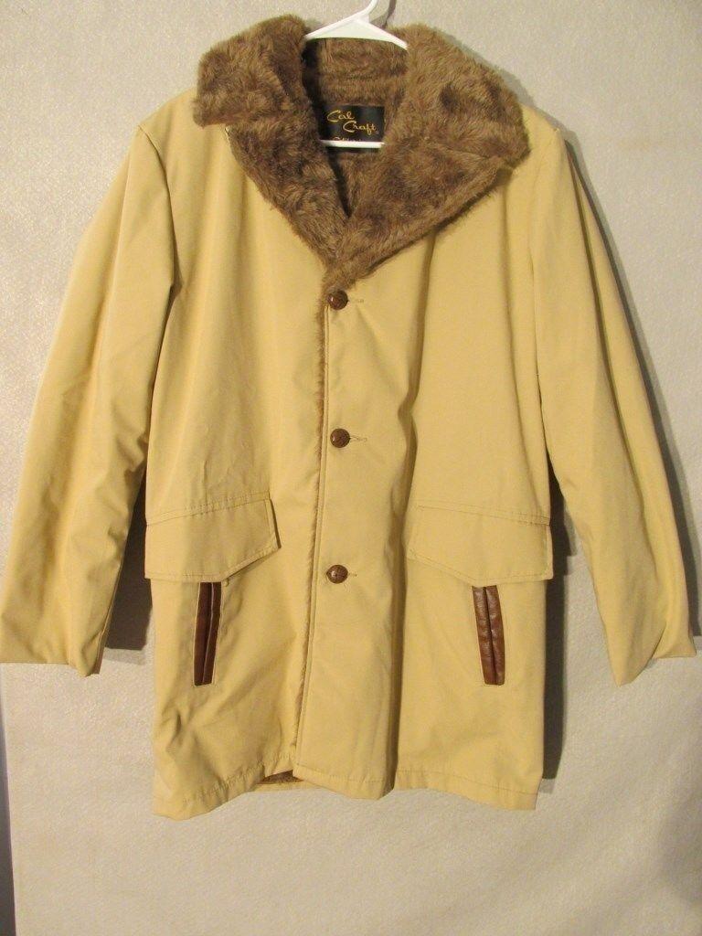 V7422 Cal Carft Beige Button Up Faux Fur Lined Permanent Press Coat Men's L