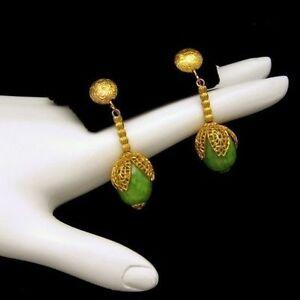 Vintage-Earrings-Chunky-Mottled-Green-Beads-Dangles-Ornate-Gold-Plated-Caps