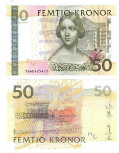 UNC-SWEDEN-50-Kronor-2011-P-64c-Banknotes-Paper-Money