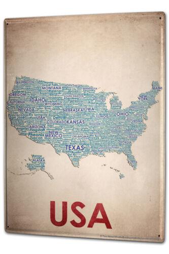 Blechschild XXL Weltenbummler  Kartenausschnitt USA