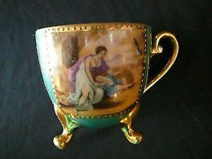 Vintage-3-Footed-Tea-Cup-Kyokuto-China-Gold-w-Mural-Pattern-Made-in-Japan