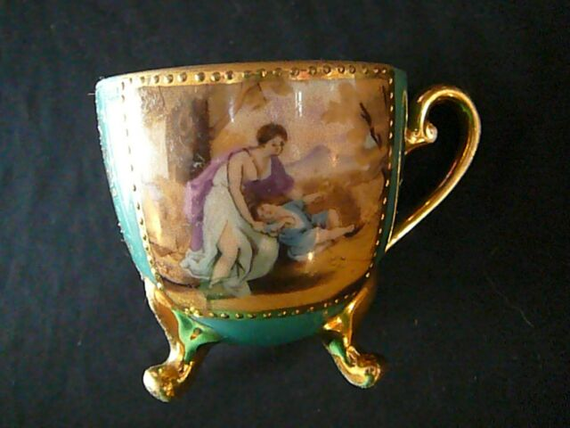 Vintage 3 Footed Tea Cup Kyokuto China Gold w/ Mural Pattern Made in Japan