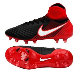 Nike Men Magista Orden II FG Cleats Soccer Red Black GYM Shoes Spike ... b97566efe8788