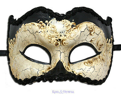 """Casanova Zane"" VENETIAN Masquerade Mask for Men: BLACK & CREAM * Made in Italy"