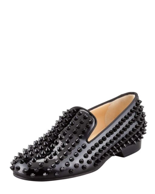 sports shoes a5199 f5be3 Christian Louboutin Rollerboy Spikes Patent Smoking Slippers 40eu/7us