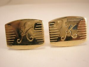 Vintage Cuff Links Letter R Monogram Name Initial Gold Tone Cufflinks Signed SWANK USA 1960s Mens Shirt Accessory