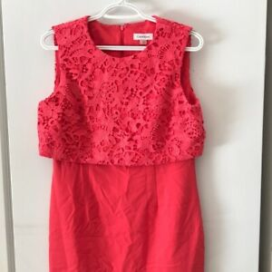 Calvin-Klein-pink-sleeveless-dress-size-8-embroidery-lace-top