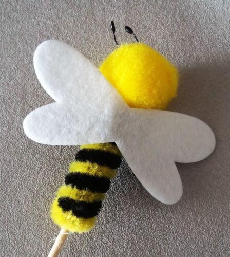 32,5cm 6 süße Deko Bienen am Holzstab zum Basteln und Dekorieren 7,5 x 7,8cm