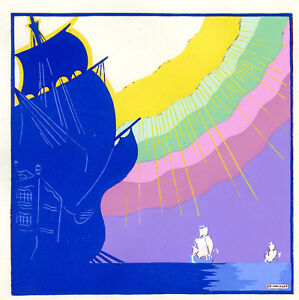 1930s-French-Pochoir-Print-Edouard-Halouze-Sailships-Seascape-w-Rainbow-Shadows