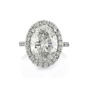 3.95 Ct Oval Real Moissanite Engagement Wedding Ring 18K Solid White Gold Size 4