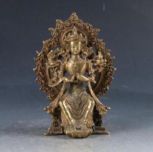 Chinese-Brass-Tibetan-Buddhism-Handwork-Carved-Kwan-Yin-Statue