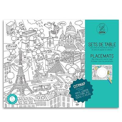 OMY Placemats CITYMAP - Paris, Tokio, Rio, London,NY - 24 Tischsets zum Ausmalen