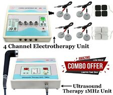 Combo 4 Channel Electrotherapy Unit 1mhz Ultrasound Therapy Massager Us Machine