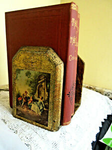 Vintage Italian FLORENTINE Gold GILT Wood w/ Scene Toleware Bookends