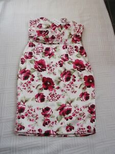 BNWT-Sirens-amp-Starlets-size-18-IVORY-SATIN-FLORAL-FITTED-DRESS