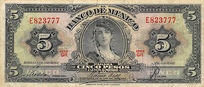 Impartial México 5 Pesos 24.7.1957 Series Gr Prefix E Circulated Banknote M1 Latest Technology Mexico