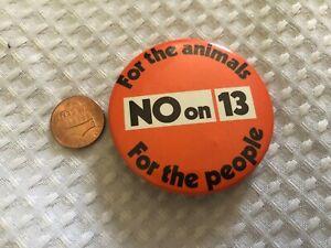 Vintage-No-Encendido-13-para-las-Animales-para-las-People-Boton-Pin