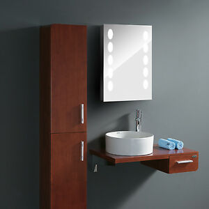 led illuminated bathroom mirror cabinet wall mounted