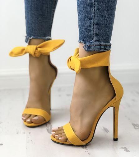 Sandale stiletto tronchetto giallo fiocco 12 cm  simil pelle eleganti 1283