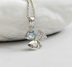 Details about 18KGP White Gold Made with Swarovski Elements Crystal Clover  Pendant Necklaces